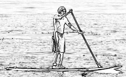 Best drawing of a stand up paddleboarder.