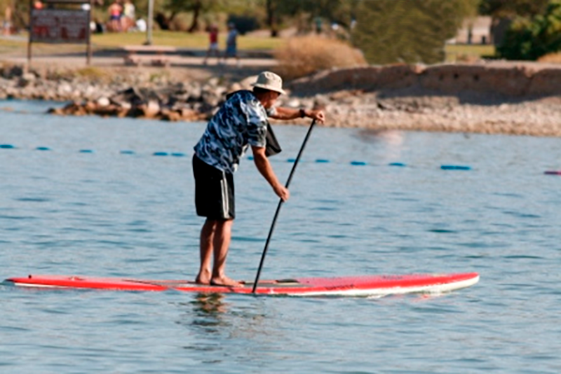 Guy paddleboarding in a river..
