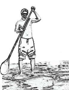 Drawing of a guy standing on a paddleboard with a paddlle in his hands.