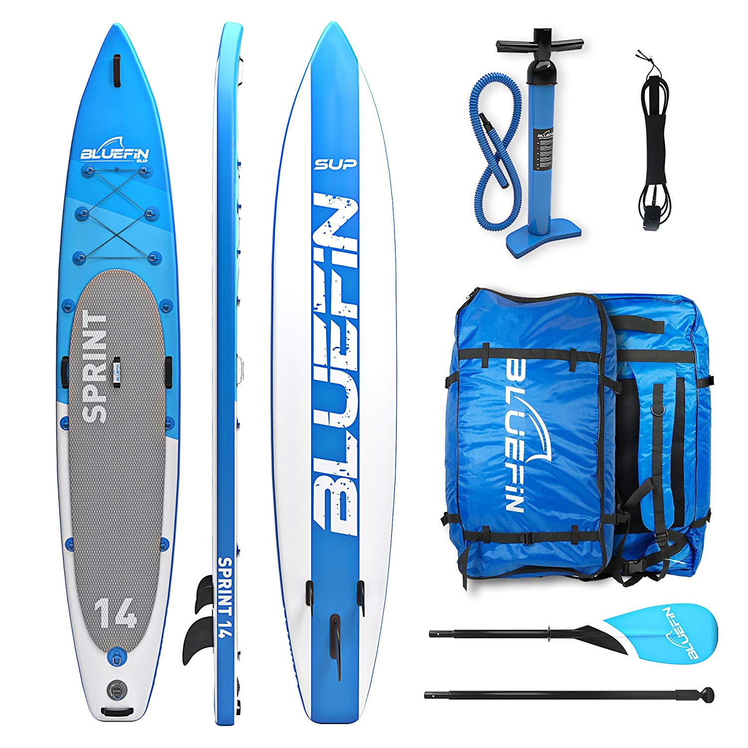 Bluefin 14' Sprint package with backpack, pump and paddle.