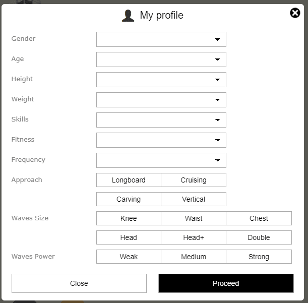 Form to send your paddling profile to the shaper.