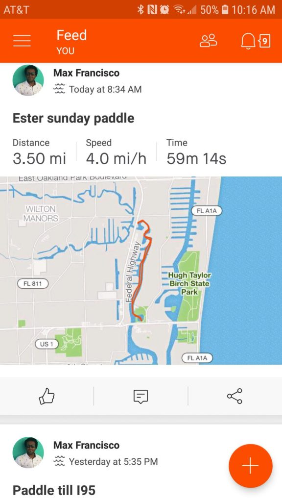 Easter Sunday Paddle on Strava. It's working properly now.
