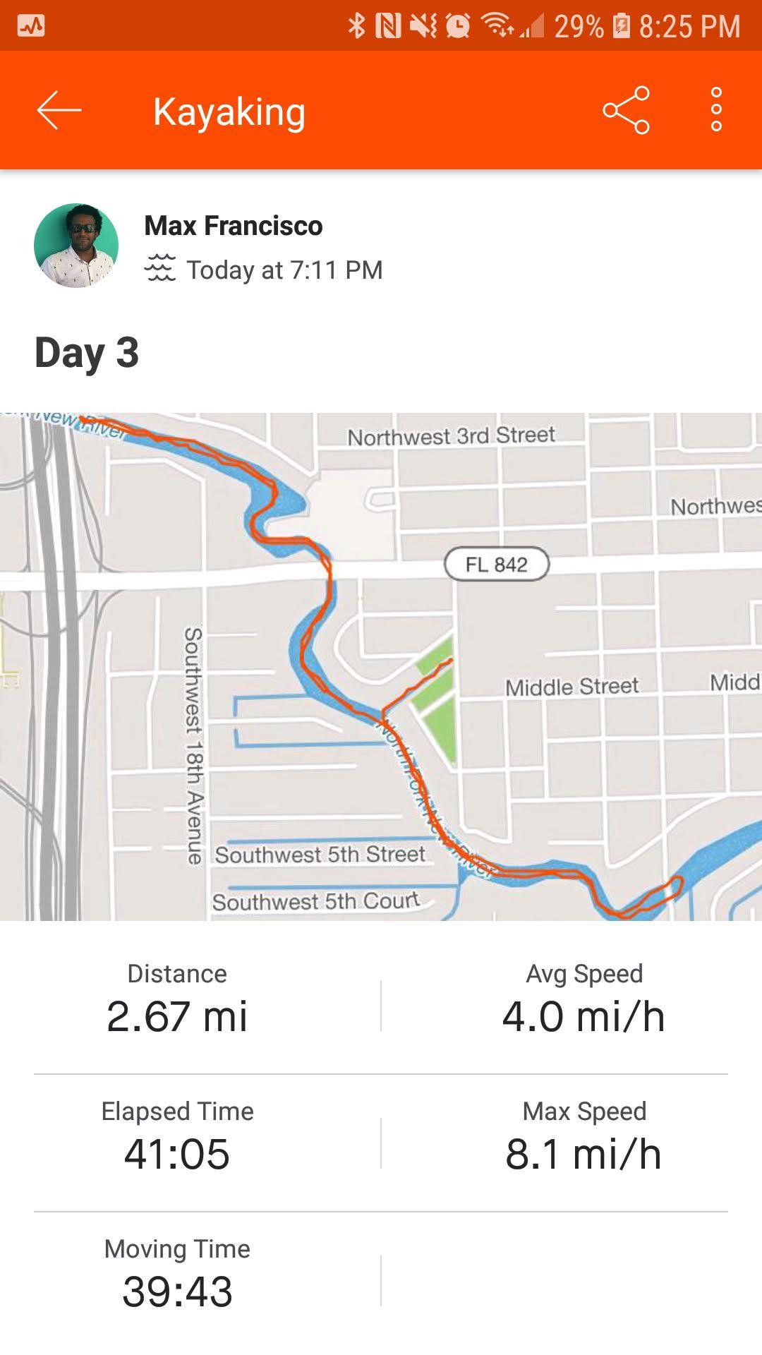 Monday, April 22nd, 2019. Strava Stats. 2.67 miles.